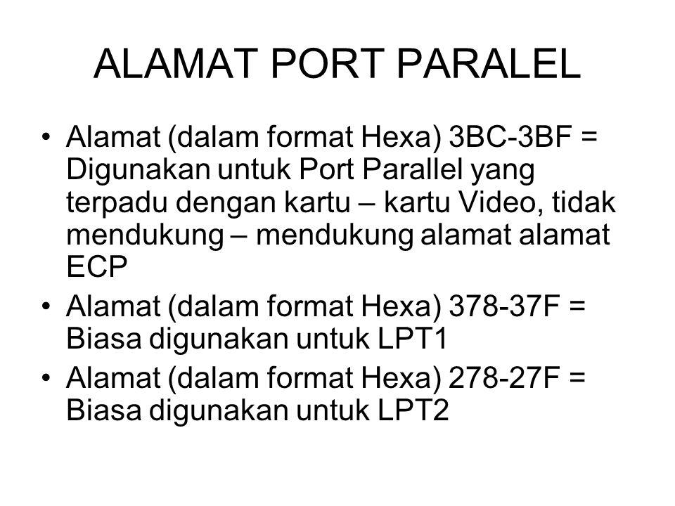 ALAMAT PORT PARALEL Alamat (dalam format Hexa) 3BC-3BF = Digunakan untuk Port Parallel yang terpadu dengan kartu – kartu Video, tidak mendukung – mend