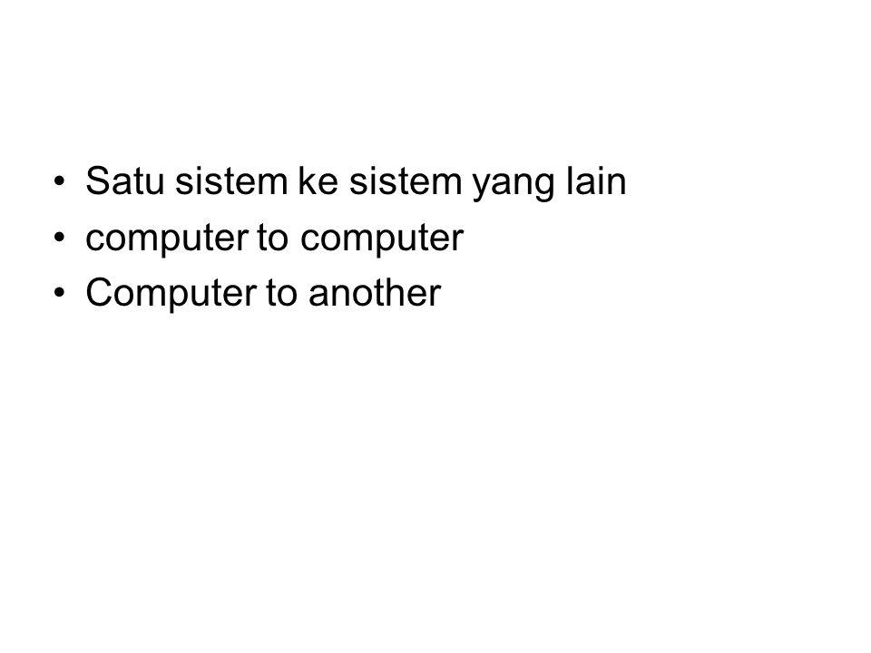 Satu sistem ke sistem yang lain computer to computer Computer to another