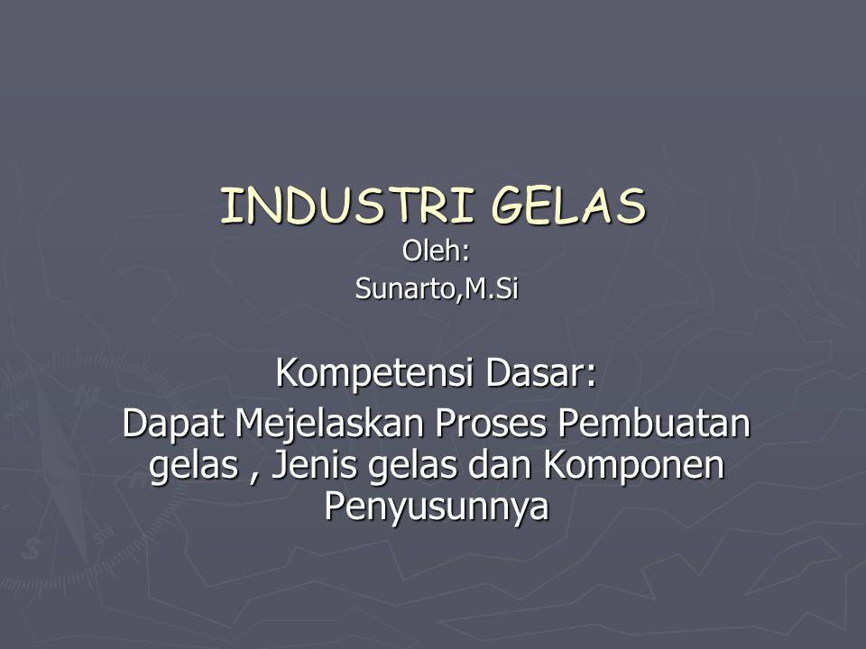 INDUSTRI GELAS Oleh:Sunarto,M.Si Kompetensi Dasar: Dapat Mejelaskan Proses Pembuatan gelas, Jenis gelas dan Komponen Penyusunnya