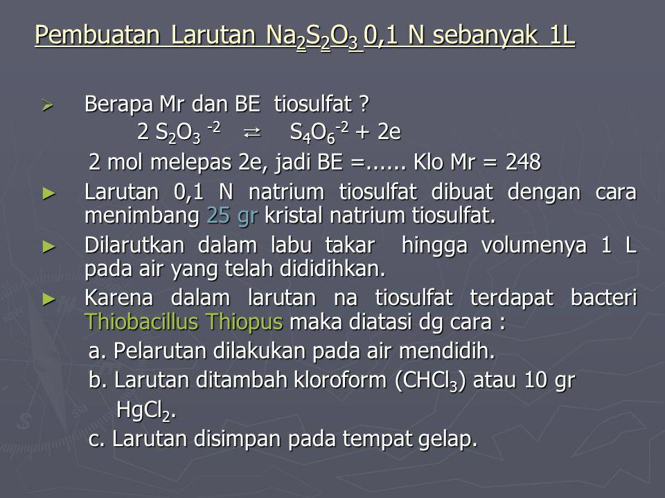 Pembuatan Larutan Na 2 S 2 O 3 0,1 N sebanyak 1L  Berapa Mr dan BE tiosulfat ? 2 S 2 O 3 -2 ⇄ S 4 O 6 -2 + 2e 2 S 2 O 3 -2 ⇄ S 4 O 6 -2 + 2e 2 mol me
