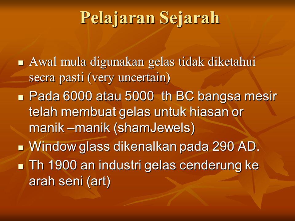 Pelajaran Sejarah Pelajaran Sejarah Awal mula digunakan gelas tidak diketahui secra pasti (very uncertain) Awal mula digunakan gelas tidak diketahui s