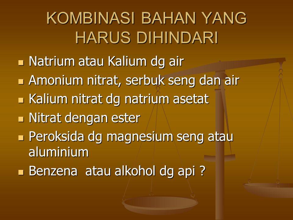 KOMBINASI BAHAN YANG HARUS DIHINDARI Natrium atau Kalium dg air Natrium atau Kalium dg air Amonium nitrat, serbuk seng dan air Amonium nitrat, serbuk seng dan air Kalium nitrat dg natrium asetat Kalium nitrat dg natrium asetat Nitrat dengan ester Nitrat dengan ester Peroksida dg magnesium seng atau aluminium Peroksida dg magnesium seng atau aluminium Benzena atau alkohol dg api .
