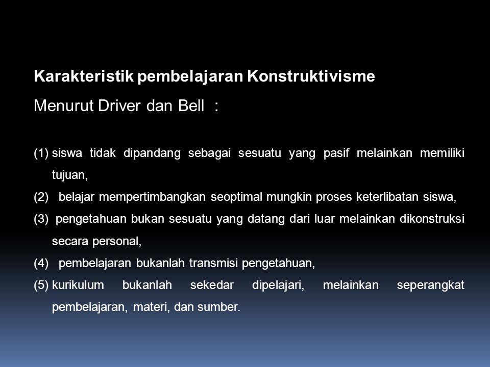 Prinsip-prinsip Konstruktivisme 1. Pengetahuan dibangun oleh siswa sendiri 2. Pengetahuan tidak dapat dipindahkan dari guru ke murid 3.Murid aktif meg
