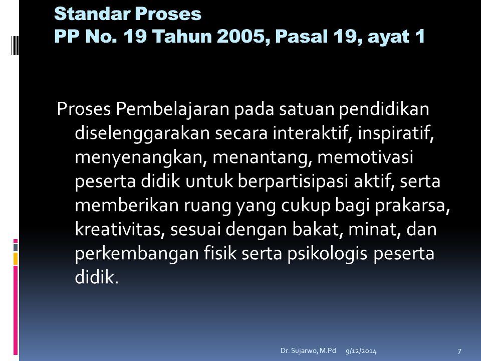 9/12/2014Dr.Sujarwo, M.Pd 7 Standar Proses PP No.