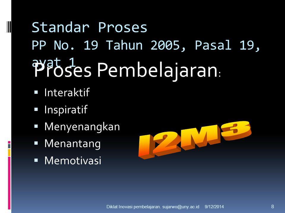 9/12/2014Dr. Sujarwo, M.Pd 7 Standar Proses PP No. 19 Tahun 2005, Pasal 19, ayat 1 Proses Pembelajaran pada satuan pendidikan diselenggarakan secara i