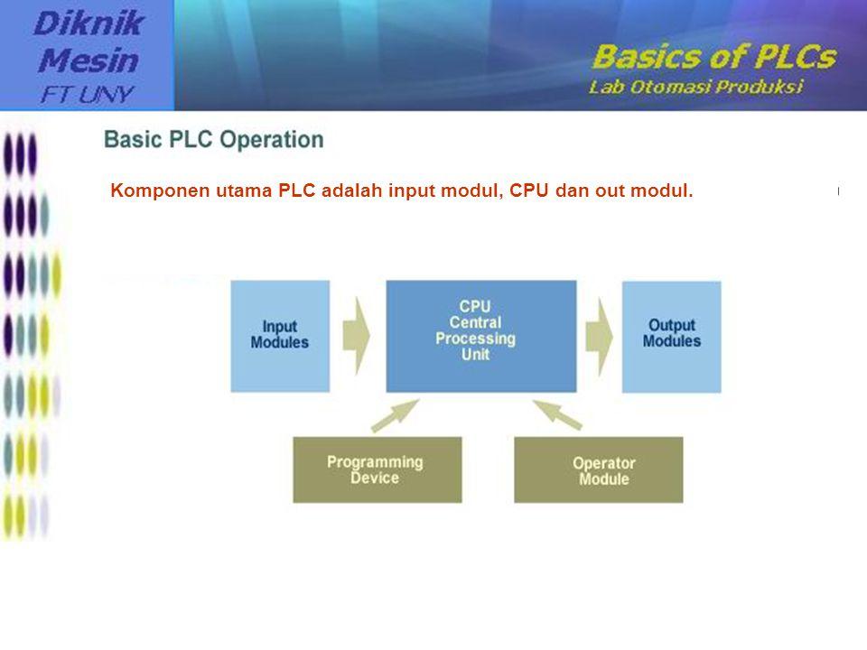 Komponen utama PLC adalah input modul, CPU dan out modul.