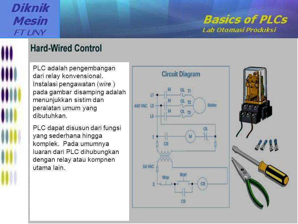 PLC adalah pengembangan dari relay konvensional. Instalasi pengawatan (wire ) pada gambar disamping adalah menunjukkan sistim dan peralatan umum yang