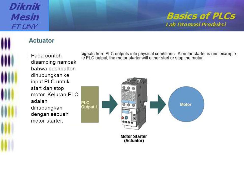 Pada contoh disamping nampak bahwa pushbutton dihubungkan ke input PLC untuk start dan stop motor. Keluran PLC adalah dihubungkan dengan sebuah motor