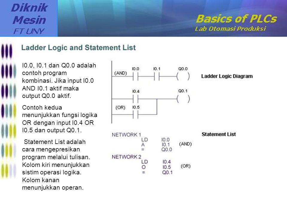 I0.0, I0.1 dan Q0.0 adalah contoh program kombinasi. Jika input I0.0 AND I0.1 aktif maka output Q0.0 aktif. Contoh kedua menunjukkan fungsi logika OR