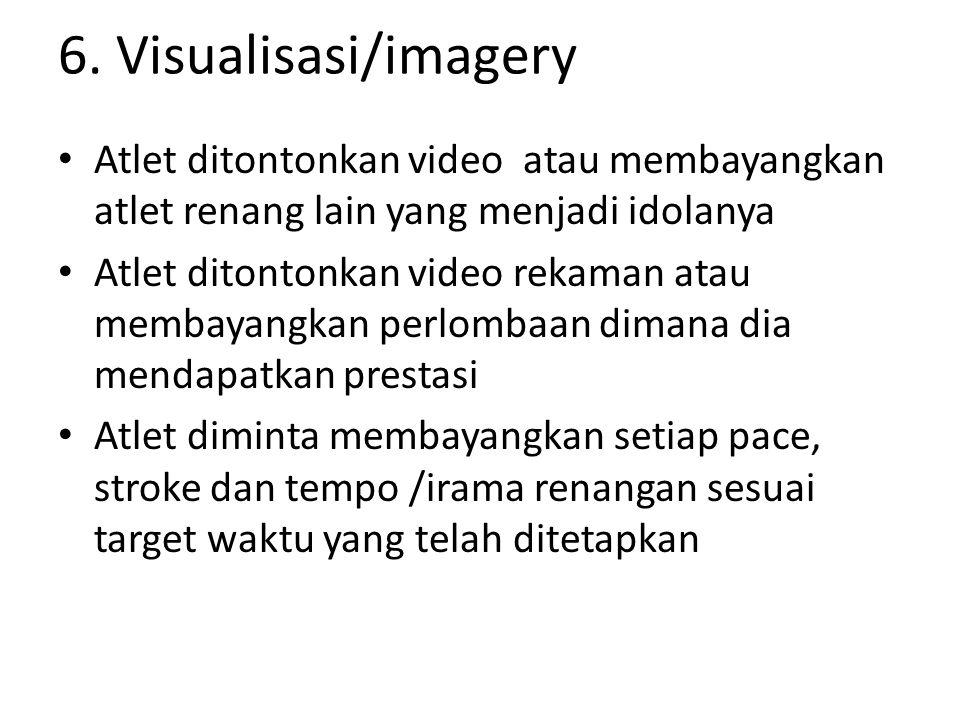 6. Visualisasi/imagery Atlet ditontonkan video atau membayangkan atlet renang lain yang menjadi idolanya Atlet ditontonkan video rekaman atau membayan