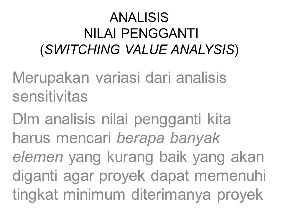 ANALISIS NILAI PENGGANTI (SWITCHING VALUE ANALYSIS) Merupakan variasi dari analisis sensitivitas Dlm analisis nilai pengganti kita harus mencari berap