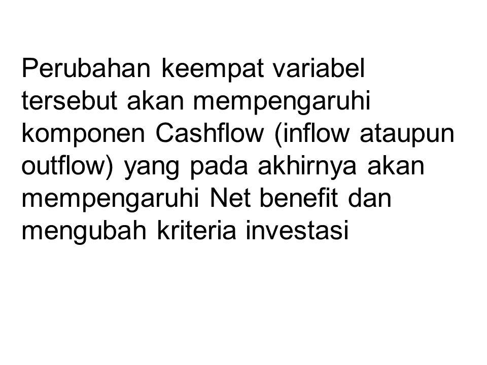 Perubahan keempat variabel tersebut akan mempengaruhi komponen Cashflow (inflow ataupun outflow) yang pada akhirnya akan mempengaruhi Net benefit dan