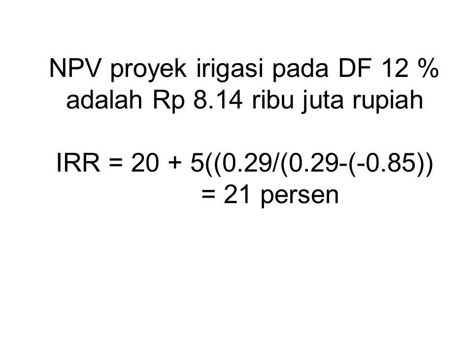 NPV proyek irigasi pada DF 12 % adalah Rp 8.14 ribu juta rupiah IRR = 20 + 5((0.29/(0.29-(-0.85)) = 21 persen