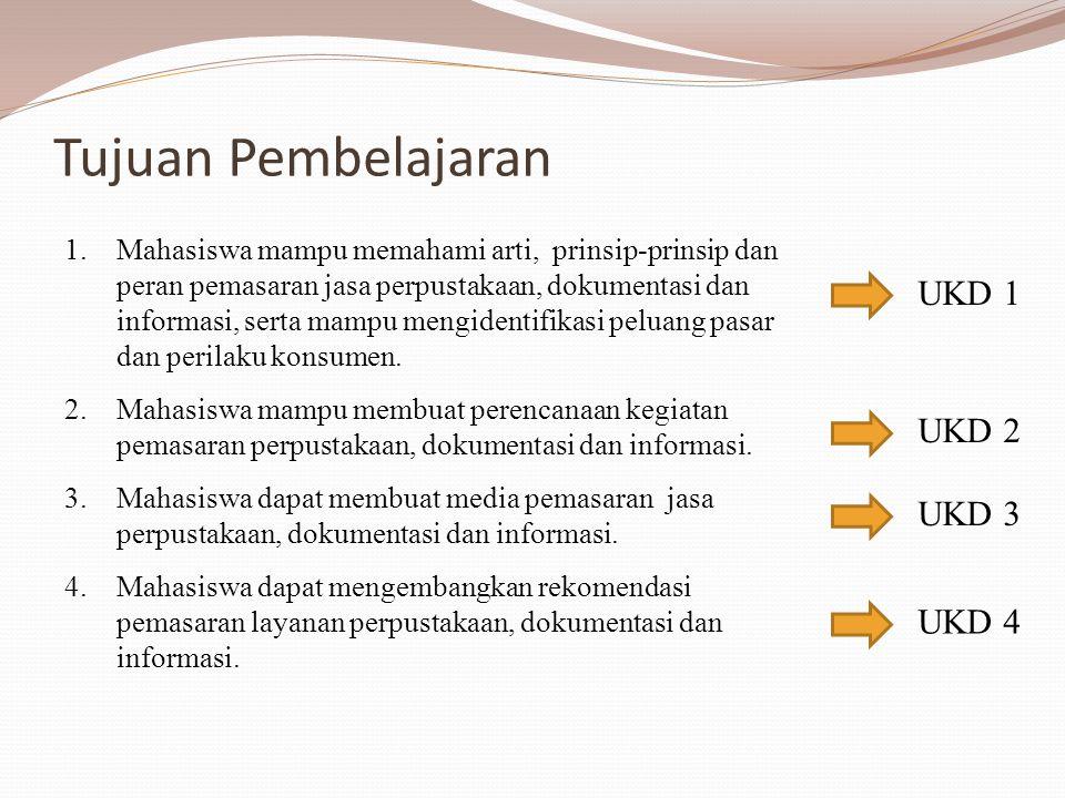 Tujuan Pembelajaran 1.Mahasiswa mampu memahami arti, prinsip-prinsip dan peran pemasaran jasa perpustakaan, dokumentasi dan informasi, serta mampu men