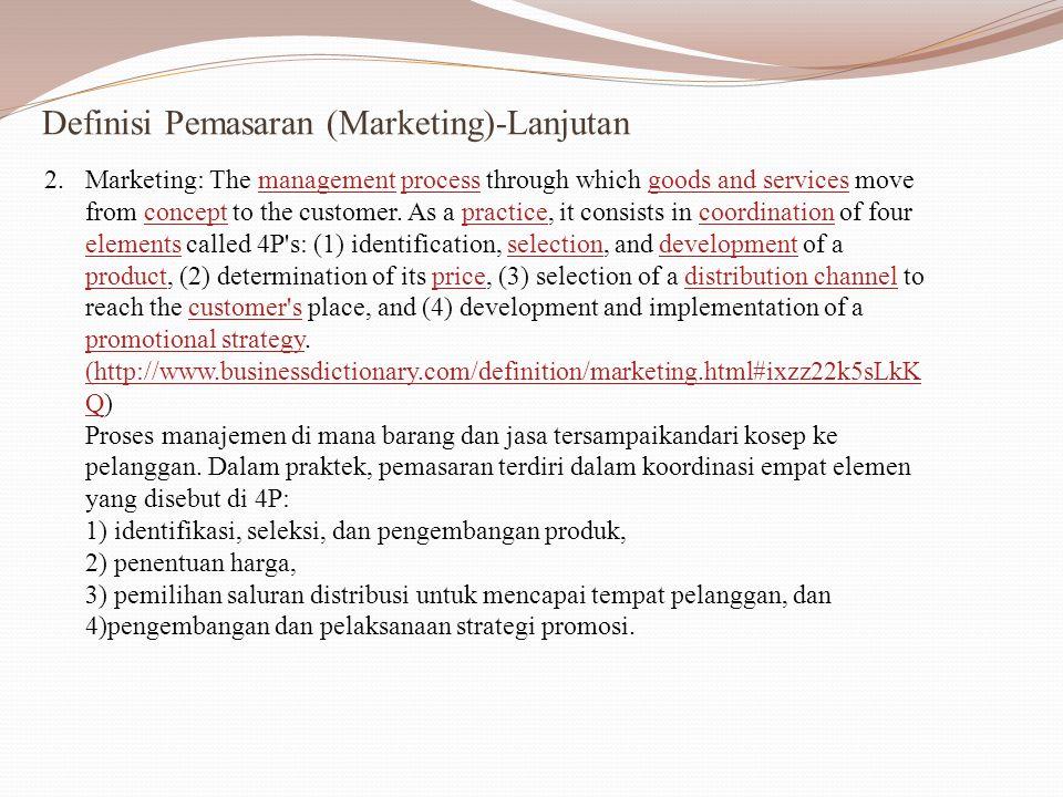 Definisi Pemasaran (Marketing)-lanjutan 3.Dr.