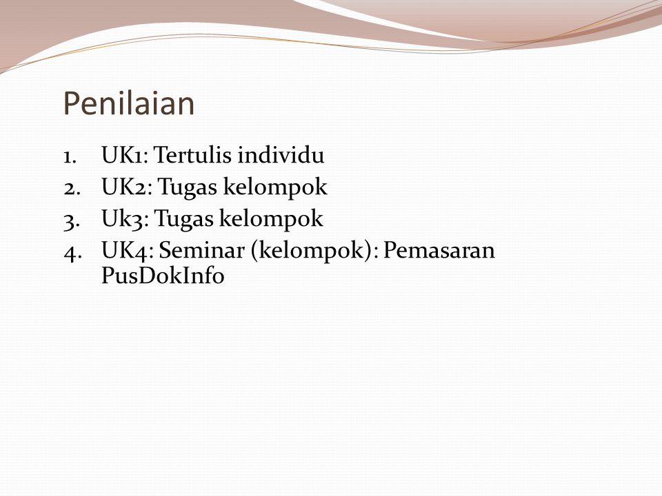 Penilaian 1.UK1: Tertulis individu 2.UK2: Tugas kelompok 3.Uk3: Tugas kelompok 4.UK4: Seminar (kelompok): Pemasaran PusDokInfo
