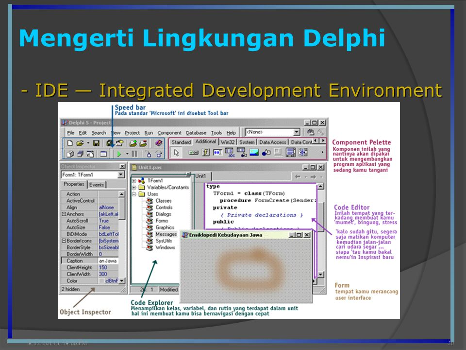 Mengerti Lingkungan Delphi 9/12/2014 2:00:42 PM20 - IDE — Integrated Development Environment