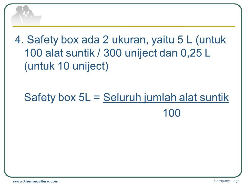 Perencanaan Kebutuhan Alat Suntik dan Safety Box 1.Alat suntik 0,05 ml untuk BCG Kebutuhan = Sasaran x Target BCG' 2. Alat suntik 0,5 ml untuk DPT, DT