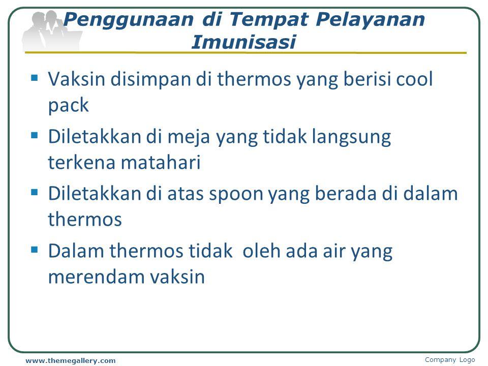  Disimpan pada suhu yang sesuai  Letakkan cool pack di bagian bawah lemari es  Dus vaksin diberi jarak 1-2 cm  Vaksin sensitif panas diletakkan di