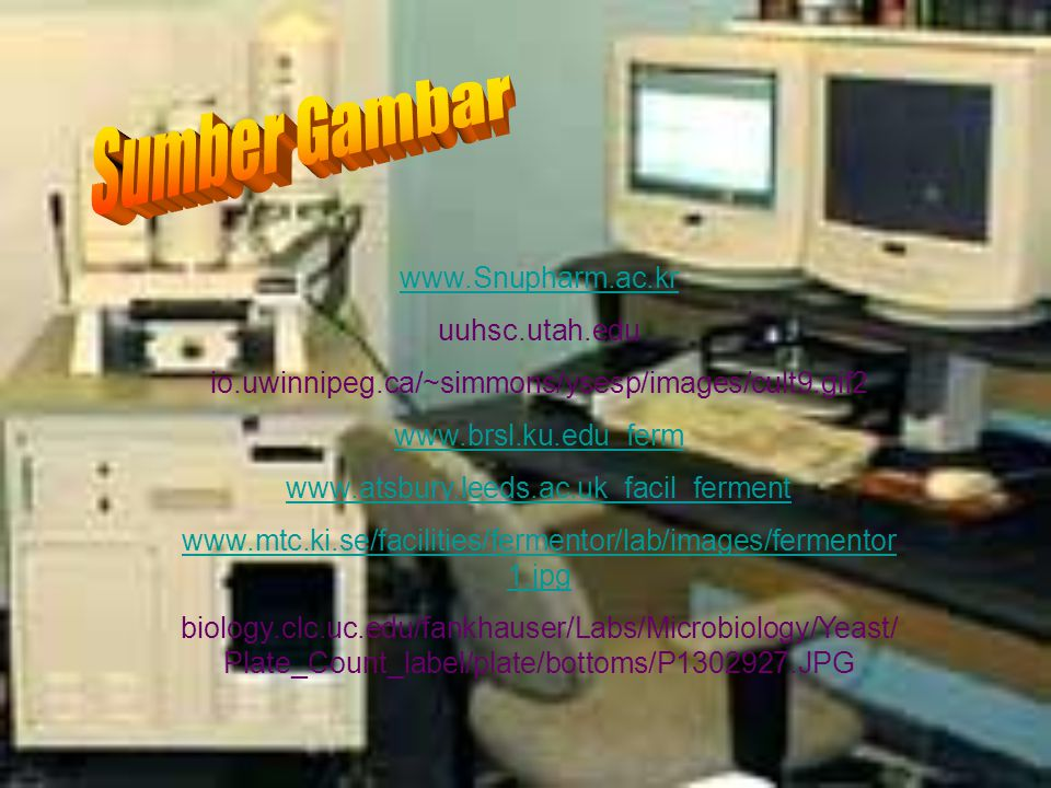 www.Snupharm.ac.kr uuhsc.utah.edu io.uwinnipeg.ca/~simmons/ysesp/images/cult9.gif2 www.brsl.ku.edu_ferm www.atsbury.leeds.ac.uk_facil_ferment www.mtc.ki.se/facilities/fermentor/lab/images/fermentor 1.jpg biology.clc.uc.edu/fankhauser/Labs/Microbiology/Yeast/ Plate_Count_label/plate/bottoms/P1302927.JPG