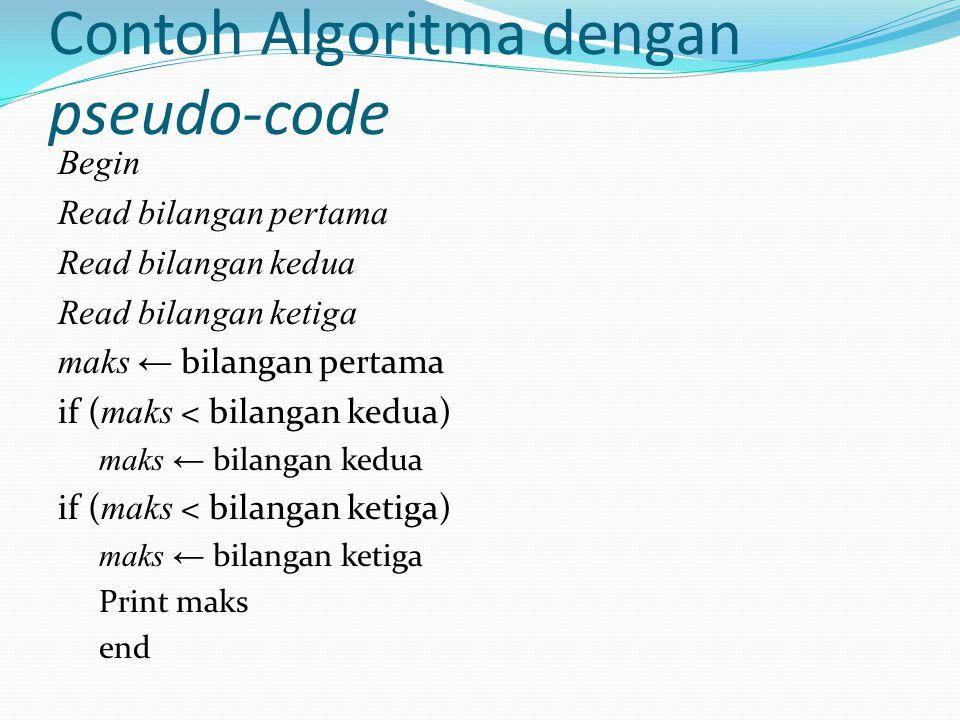 Contoh Algoritma dengan pseudo-code Begin Read bilangan pertama Read bilangan kedua Read bilangan ketiga maks ← bilangan pertama if ( maks < bilangan kedua) maks ← bilangan kedua if ( maks < bilangan ketiga) maks ← bilangan ketiga Print maks end