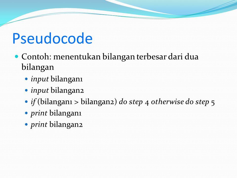 Pseudocode Contoh: menentukan bilangan terbesar dari dua bilangan input bilangan1 input bilangan2 if (bilangan1 > bilangan2) do step 4 otherwise do step 5 print bilangan1 print bilangan2