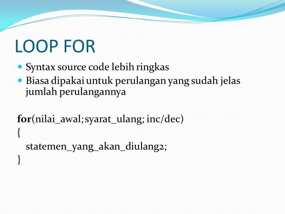 LOOP FOR Syntax source code lebih ringkas Biasa dipakai untuk perulangan yang sudah jelas jumlah perulangannya for(nilai_awal; syarat_ulang; inc/dec) { statemen_yang_akan_diulang2; }