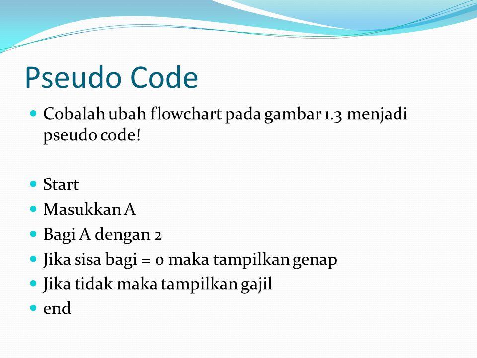 Pseudo Code Cobalah ubah flowchart pada gambar 1.3 menjadi pseudo code! Start Masukkan A Bagi A dengan 2 Jika sisa bagi = 0 maka tampilkan genap Jika