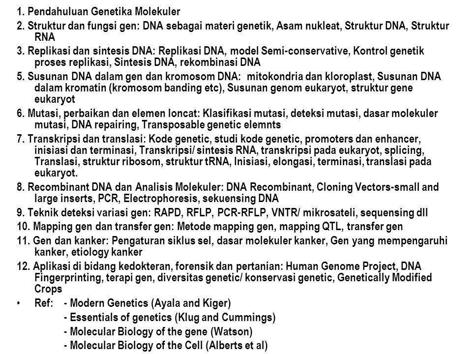 1. Pendahuluan Genetika Molekuler 2. Struktur dan fungsi gen: DNA sebagai materi genetik, Asam nukleat, Struktur DNA, Struktur RNA 3. Replikasi dan si