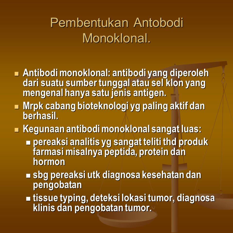 Pembentukan Antobodi Monoklonal. Antibodi monoklonal: antibodi yang diperoleh dari suatu sumber tunggal atau sel klon yang mengenal hanya satu jenis a