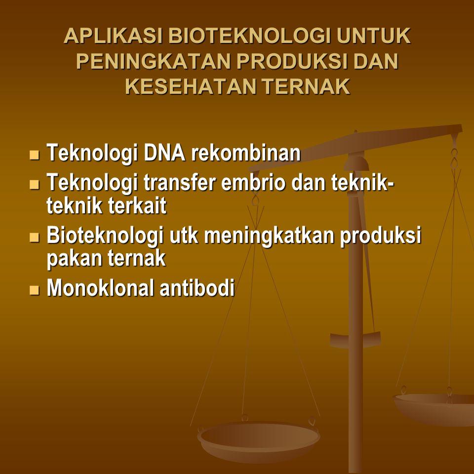 APLIKASI BIOTEKNOLOGI UNTUK PENINGKATAN PRODUKSI DAN KESEHATAN TERNAK Teknologi DNA rekombinan Teknologi DNA rekombinan Teknologi transfer embrio dan