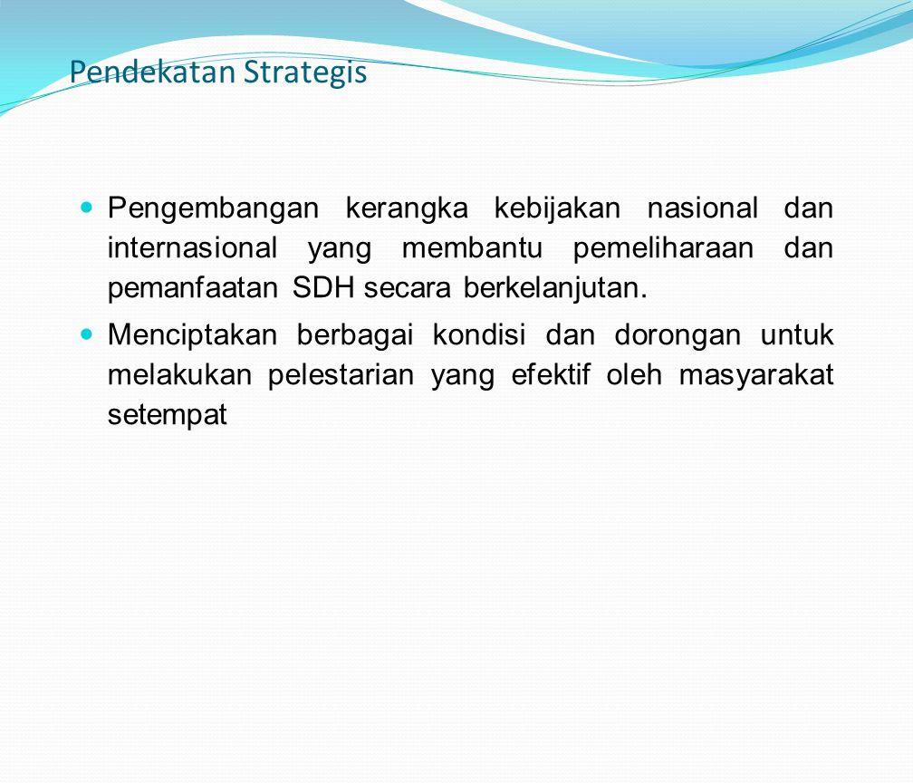 Pendekatan Strategis Pengembangan kerangka kebijakan nasional dan internasional yang membantu pemeliharaan dan pemanfaatan SDH secara berkelanjutan. M