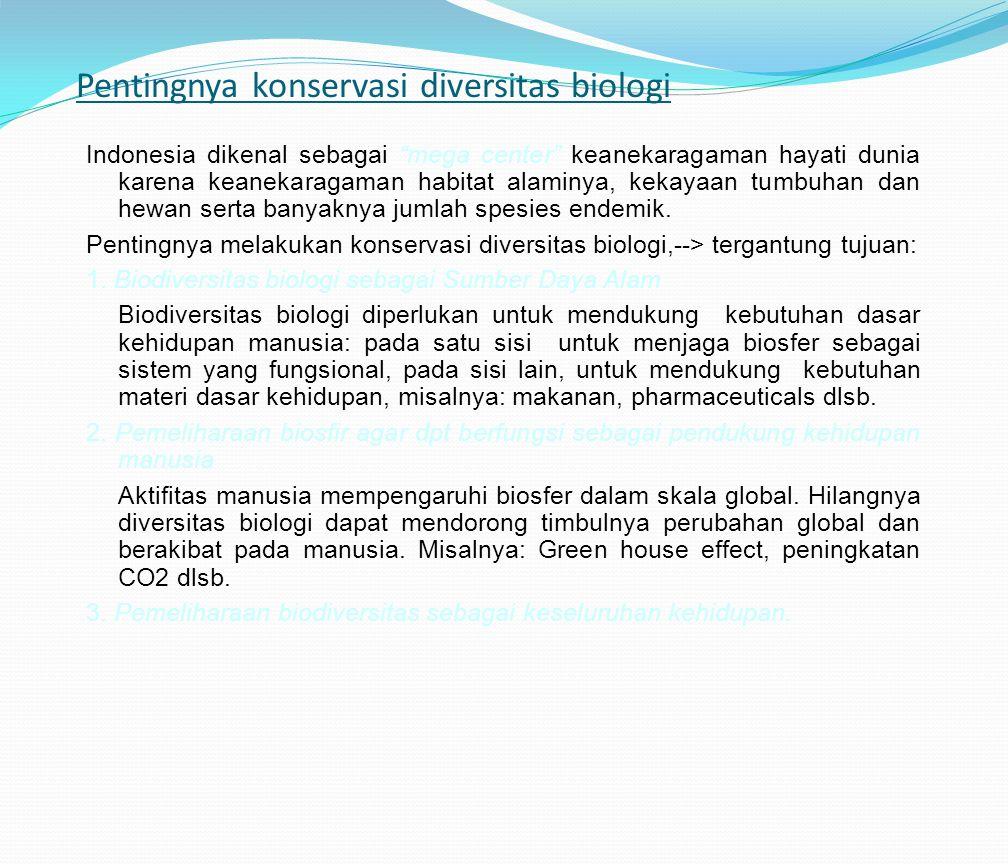 """Pentingnya konservasi diversitas biologi Indonesia dikenal sebagai """"mega center"""" keanekaragaman hayati dunia karena keanekaragaman habitat alaminya, k"""