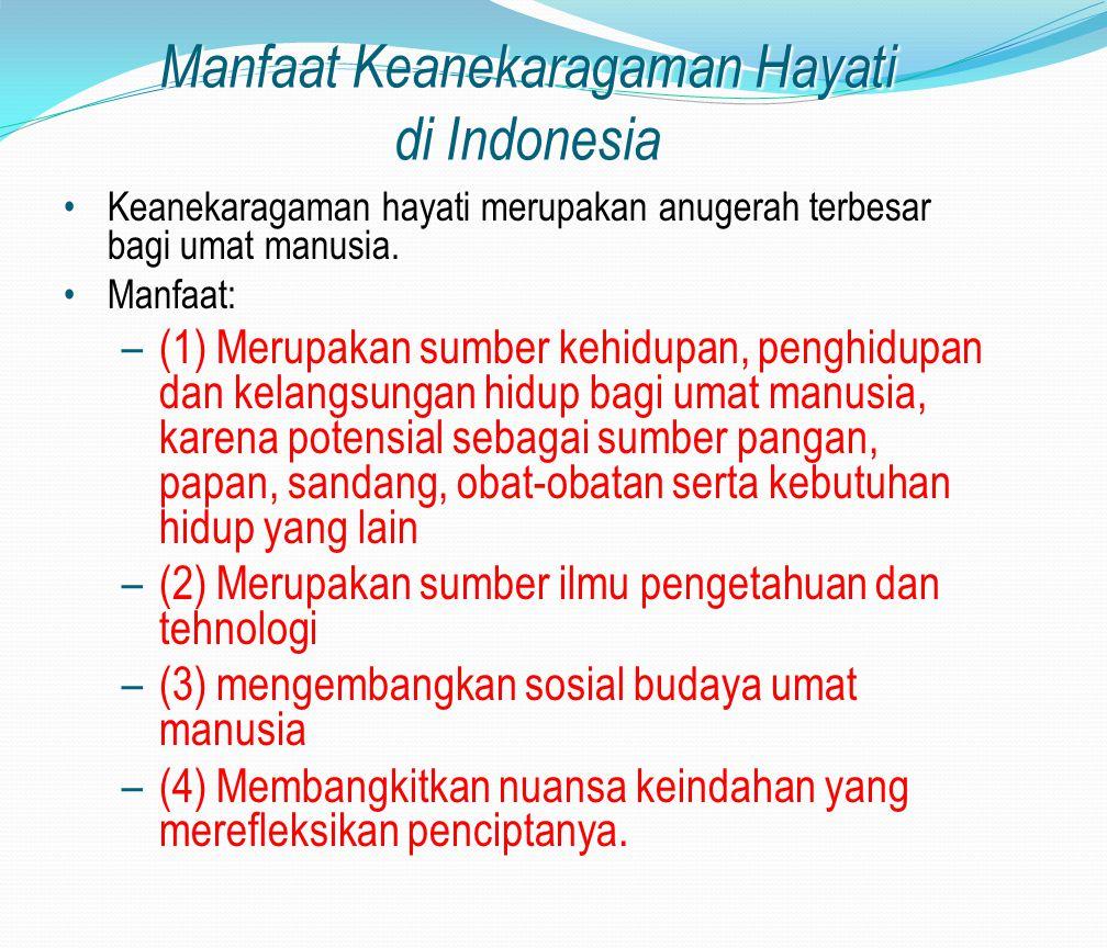 Manfaat Keanekaragaman Hayati di Indonesia Keanekaragaman hayati merupakan anugerah terbesar bagi umat manusia. Manfaat: –(1) Merupakan sumber kehidup