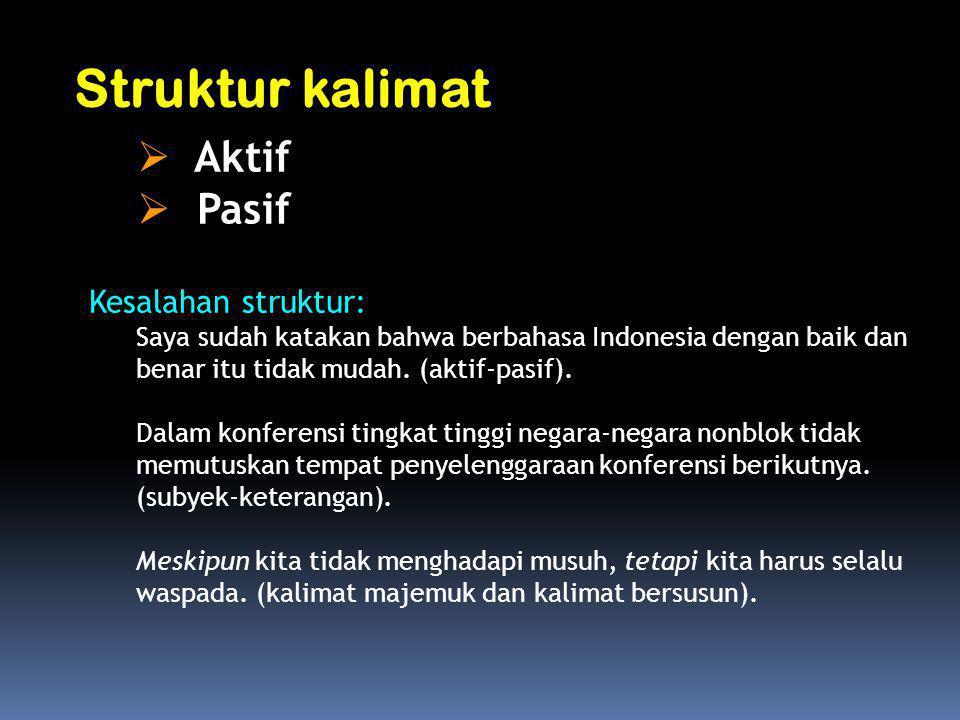 Kesalahan struktur: Saya sudah katakan bahwa berbahasa Indonesia dengan baik dan benar itu tidak mudah. (aktif-pasif). Dalam konferensi tingkat tinggi