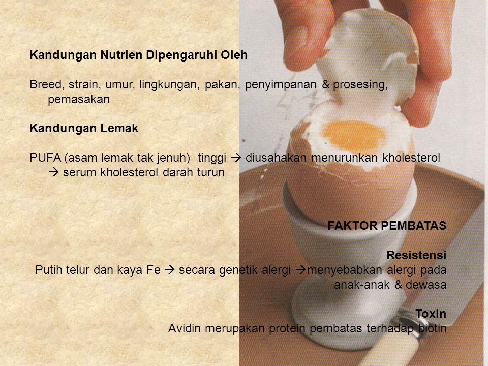 Kandungan Nutrien Dipengaruhi Oleh Breed, strain, umur, lingkungan, pakan, penyimpanan & prosesing, pemasakan Kandungan Lemak PUFA (asam lemak tak jen