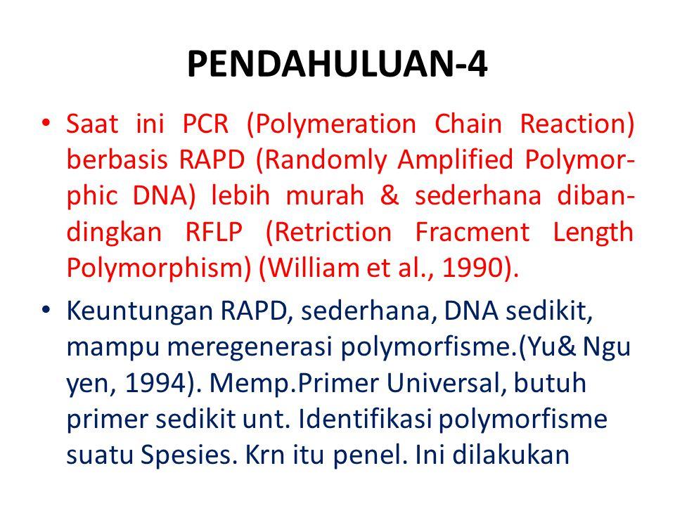 PENDAHULUAN-4 Saat ini PCR (Polymeration Chain Reaction) berbasis RAPD (Randomly Amplified Polymor- phic DNA) lebih murah & sederhana diban- dingkan R