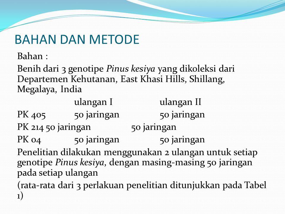 BAHAN DAN METODE Bahan : Benih dari 3 genotipe Pinus kesiya yang dikoleksi dari Departemen Kehutanan, East Khasi Hills, Shillang, Megalaya, India ulan