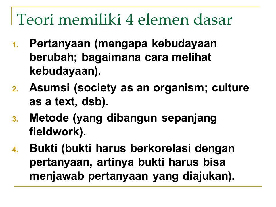 Teori memiliki 4 elemen dasar 1. Pertanyaan (mengapa kebudayaan berubah; bagaimana cara melihat kebudayaan). 2. Asumsi (society as an organism; cultur