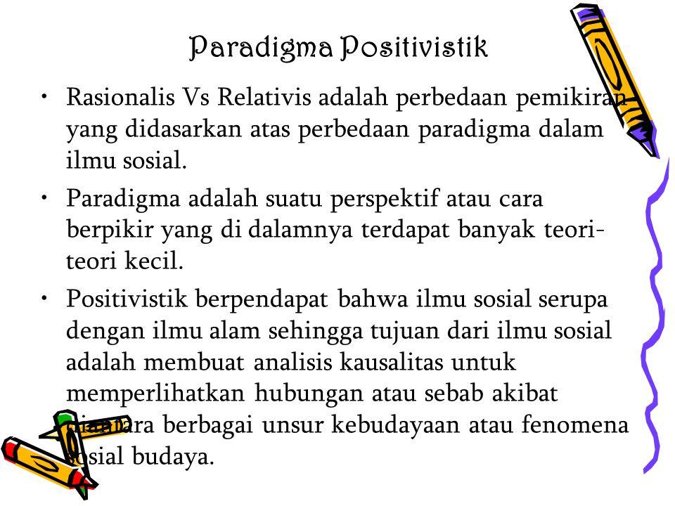 Paradigma Positivistik Rasionalis Vs Relativis adalah perbedaan pemikiran yang didasarkan atas perbedaan paradigma dalam ilmu sosial. Paradigma adalah
