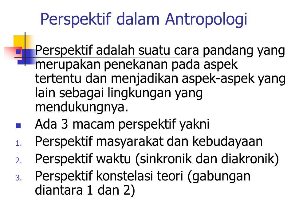 Perspektif dalam Antropologi Perspektif adalah suatu cara pandang yang merupakan penekanan pada aspek tertentu dan menjadikan aspek-aspek yang lain se