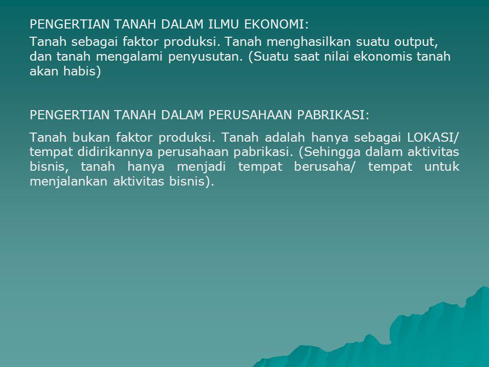 PENGERTIAN TANAH DALAM ILMU EKONOMI: Tanah sebagai faktor produksi. Tanah menghasilkan suatu output, dan tanah mengalami penyusutan. (Suatu saat nilai