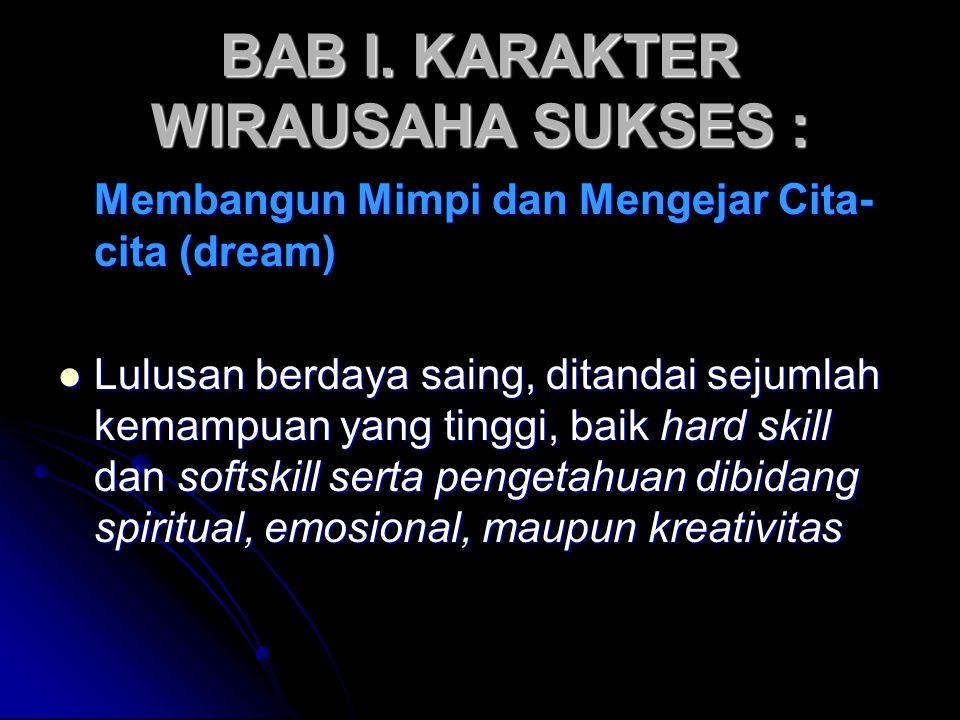 BAB I. KARAKTER WIRAUSAHA SUKSES : Membangun Mimpi dan Mengejar Cita- cita (dream) Lulusan berdaya saing, ditandai sejumlah kemampuan yang tinggi, bai