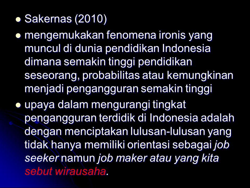 Sakernas (2010) Sakernas (2010) mengemukakan fenomena ironis yang muncul di dunia pendidikan Indonesia dimana semakin tinggi pendidikan seseorang, pro