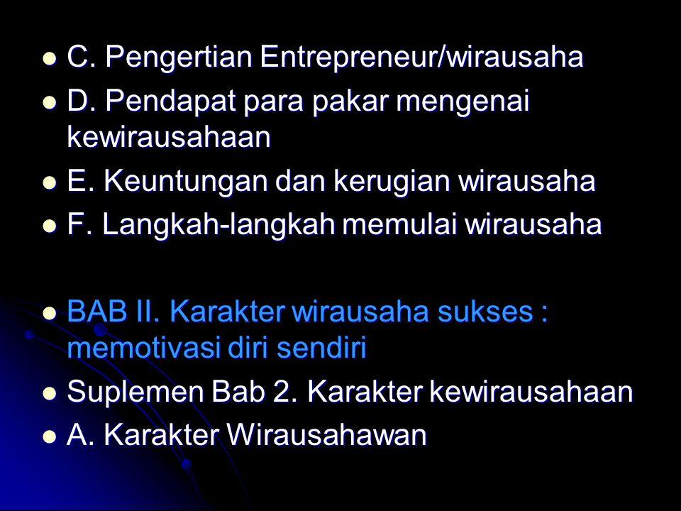 C. Pengertian Entrepreneur/wirausaha C. Pengertian Entrepreneur/wirausaha D. Pendapat para pakar mengenai kewirausahaan D. Pendapat para pakar mengena