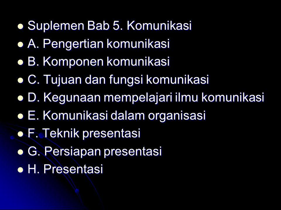 Suplemen Bab 5. Komunikasi Suplemen Bab 5. Komunikasi A. Pengertian komunikasi A. Pengertian komunikasi B. Komponen komunikasi B. Komponen komunikasi
