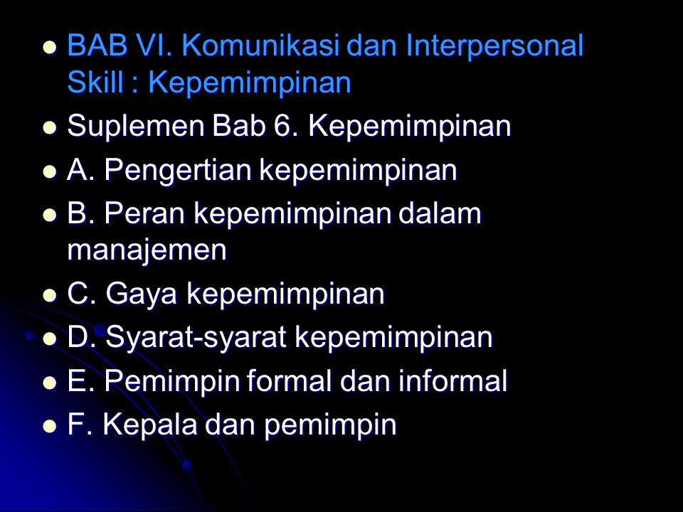 BAB VI. Komunikasi dan Interpersonal Skill : Kepemimpinan BAB VI. Komunikasi dan Interpersonal Skill : Kepemimpinan Suplemen Bab 6. Kepemimpinan Suple