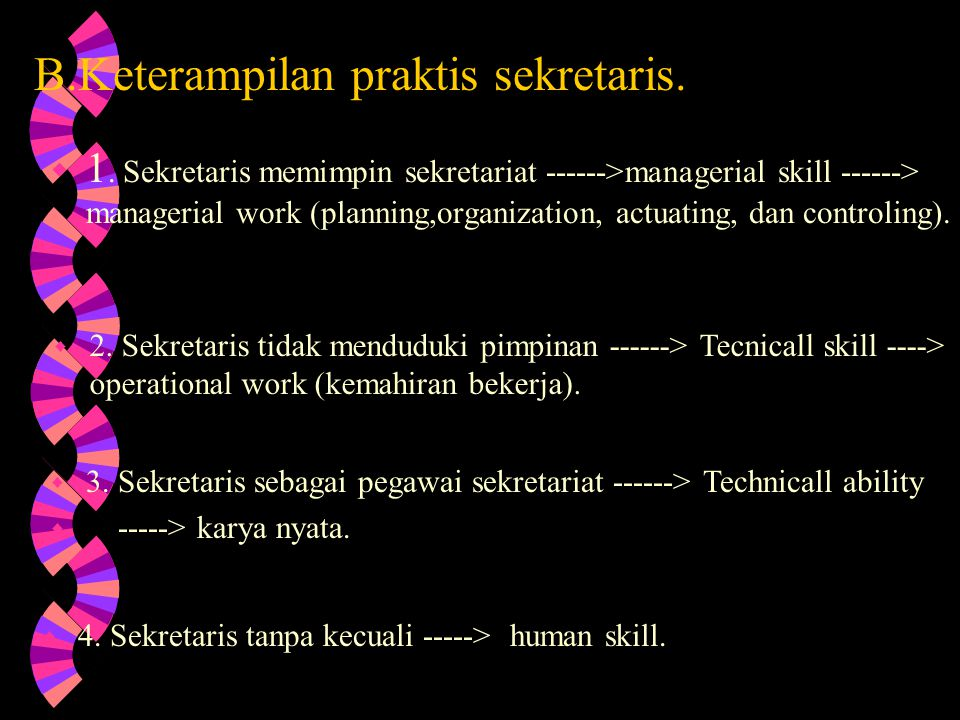 PERSYARATAN JABATAN SEKRETARIS A. Penggunaan bahasa dan pengetahuan umum. 1. Menggunakan bahasa Indonesia lisan dan tulisan dengan baik. Secara lisan