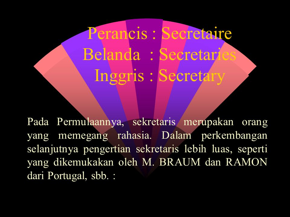 Perancis : Secretaire Belanda : Secretaries Inggris : Secretary Pada Permulaannya, sekretaris merupakan orang yang memegang rahasia.