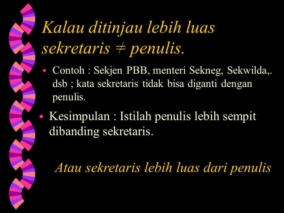 Kalau ditinjau lebih luas sekretaris = penulis.w Contoh : Sekjen PBB, menteri Sekneg, Sekwilda,.